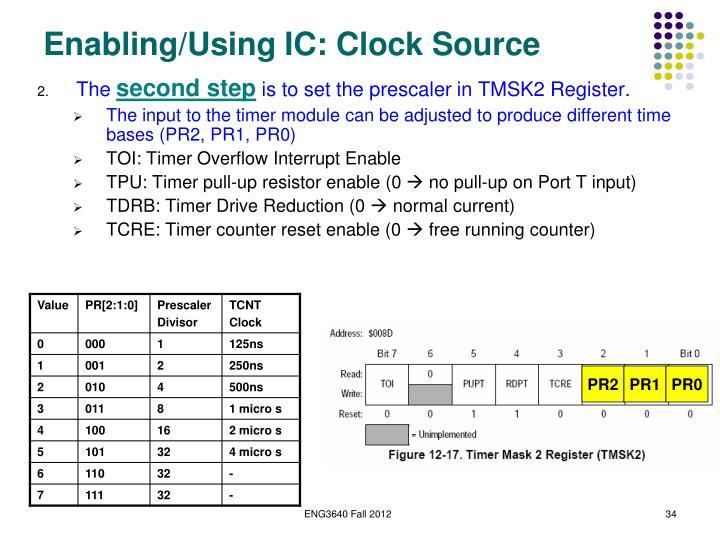 Enabling/Using IC: Clock Source
