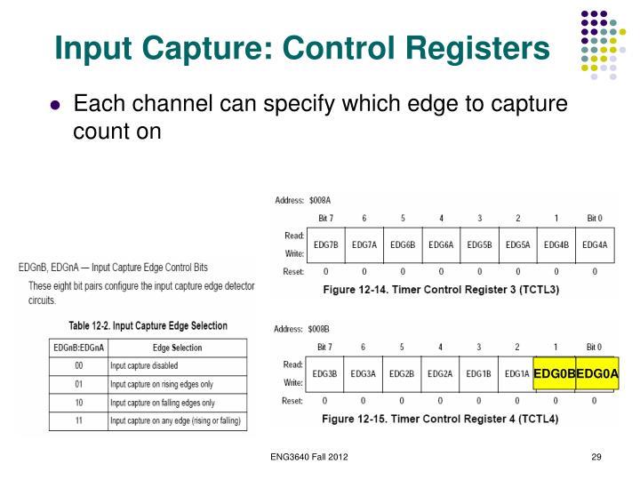 Input Capture: Control Registers