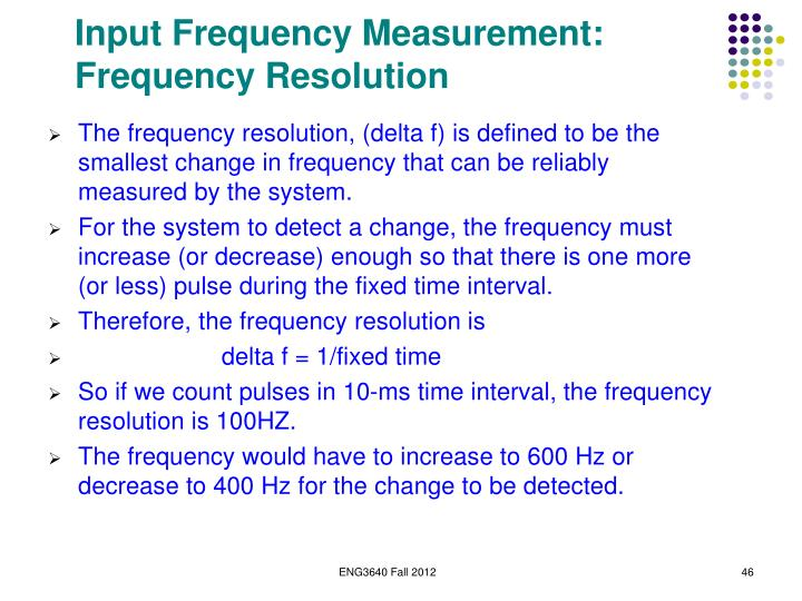 Input Frequency Measurement: Frequency Resolution