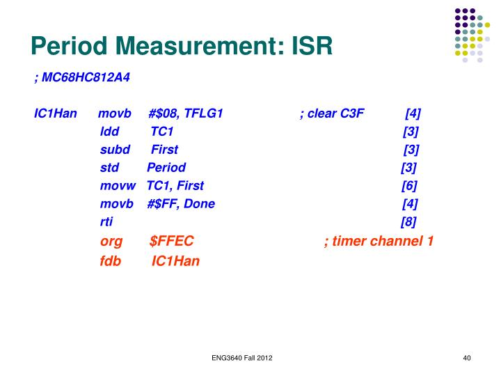 Period Measurement: ISR