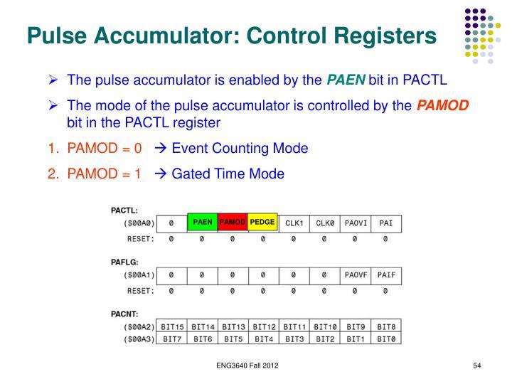 Pulse Accumulator: Control Registers