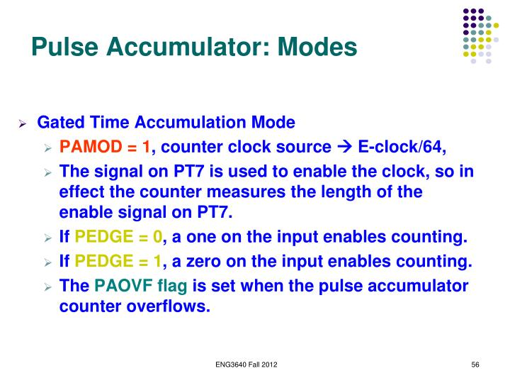 Pulse Accumulator: Modes