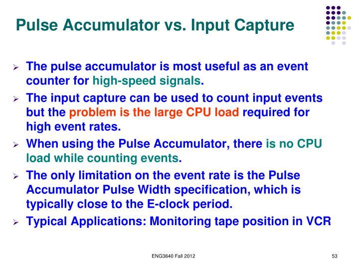 Pulse Accumulator vs. Input Capture