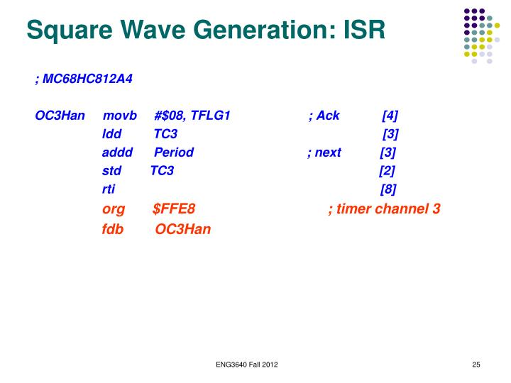 Square Wave Generation: ISR