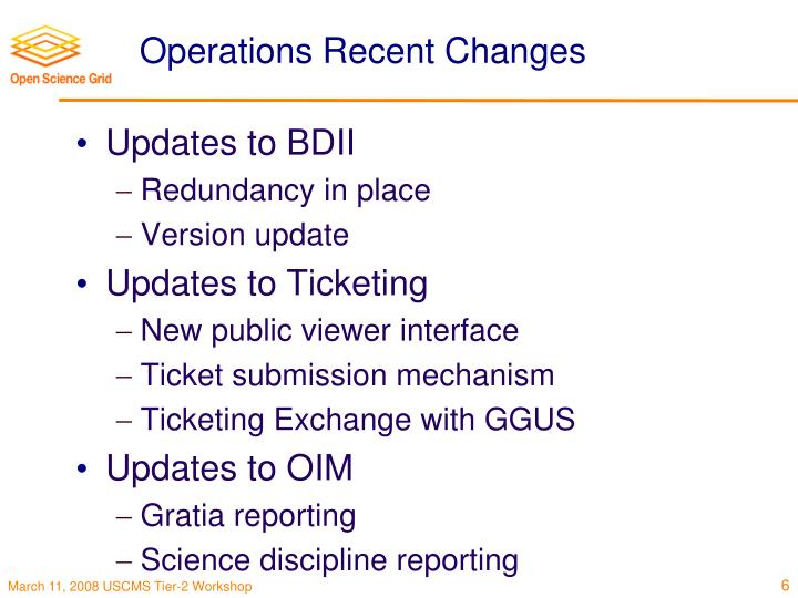 Operations Recent Changes