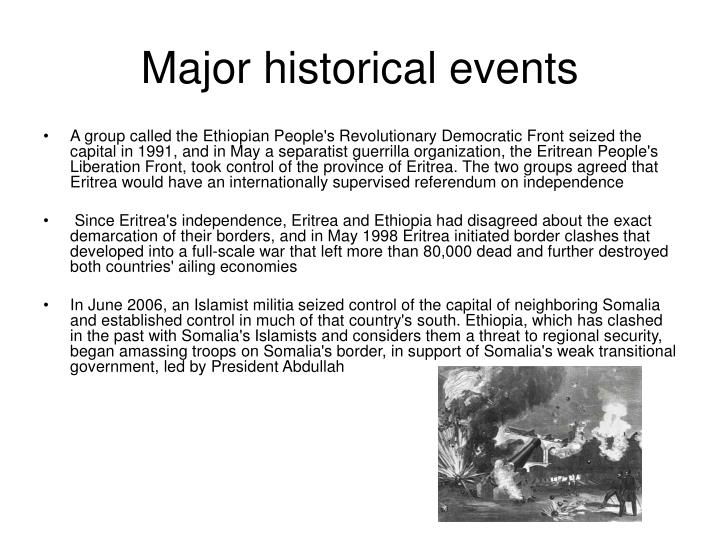 Major historical events