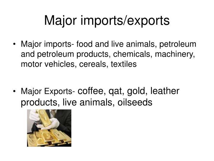 Major imports/exports