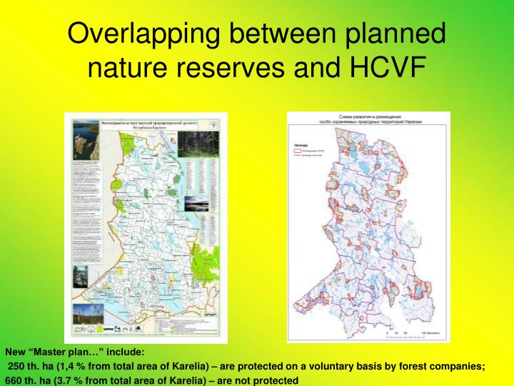 Overlapping between planned nature reserves and HCVF