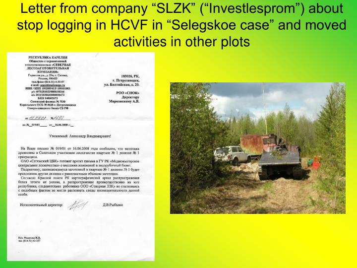 "Letter from company ""SLZK"" (""Investlesprom"") about stop logging in HCVF in ""Selegskoe case"" and moved activities in other plots"
