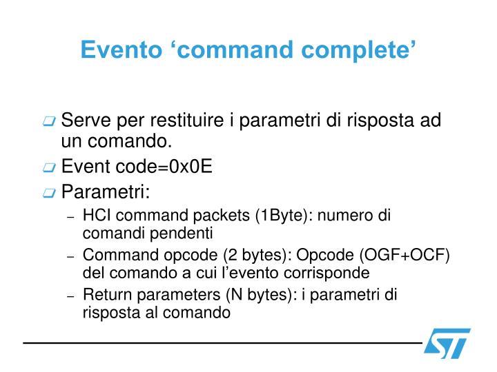 Evento 'command complete'