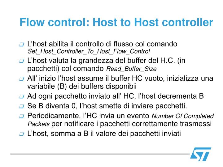 Flow control: Host to Host controller