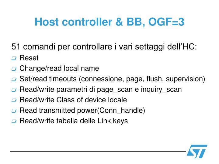 Host controller & BB, OGF=3