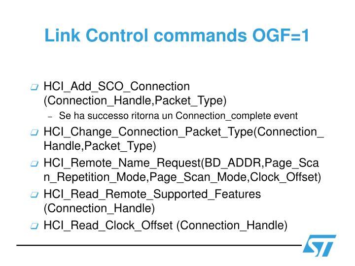 Link Control commands OGF=1