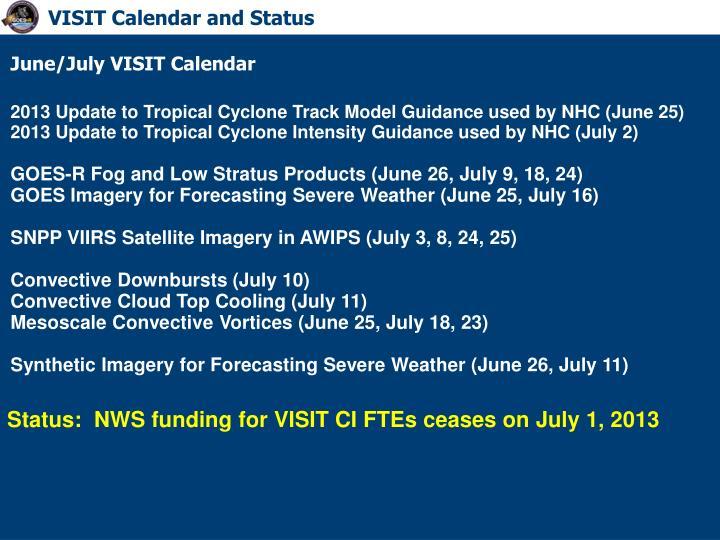 VISIT Calendar and Status