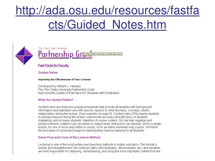 http://ada.osu.edu/resources/fastfacts/Guided_Notes.htm