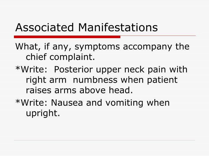 Associated Manifestations