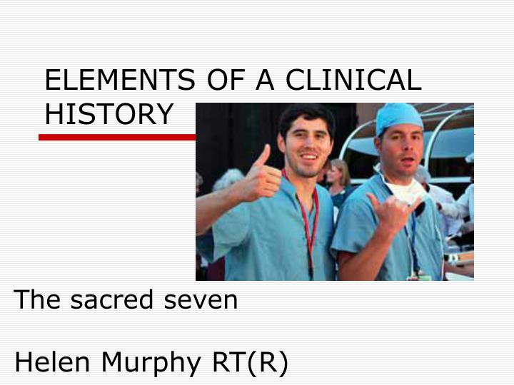 Elements of a clinical history