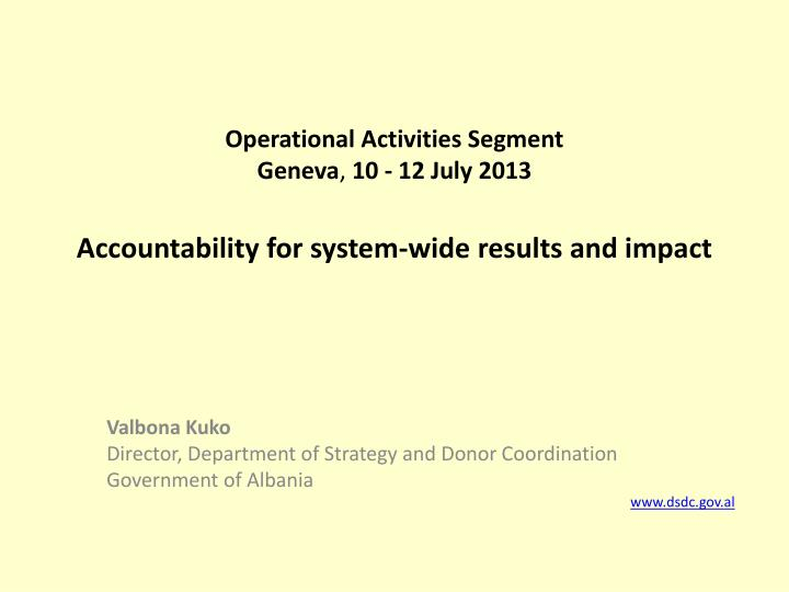 accountability for system wide results and impact