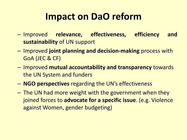 Impact on DaO reform