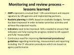 monitoring and review process lessons learned