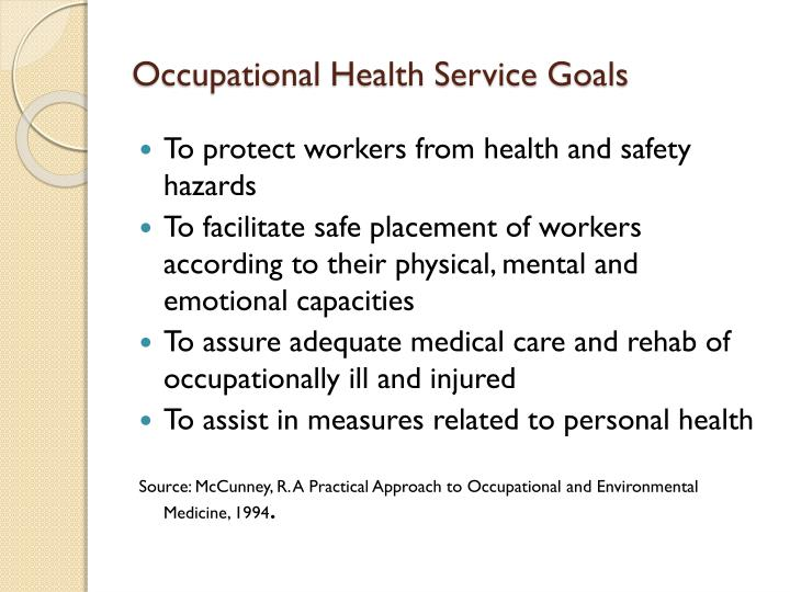 Occupational Health Service Goals
