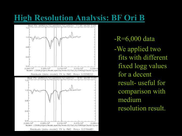 High Resolution Analysis: BF Ori B