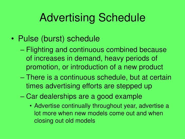 Advertising Schedule