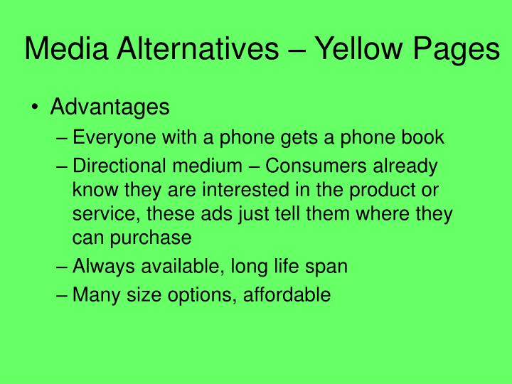 Media Alternatives – Yellow Pages