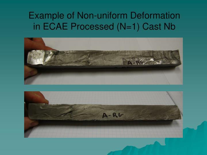 Example of Non-uniform Deformation in ECAE Processed (N=1) Cast Nb