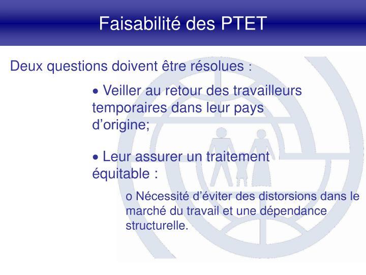 Faisabilité des PTET