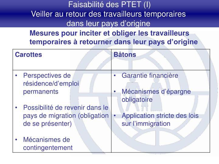 Faisabilité des PTET (I)