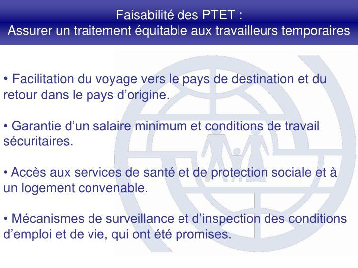 Faisabilité des PTET :