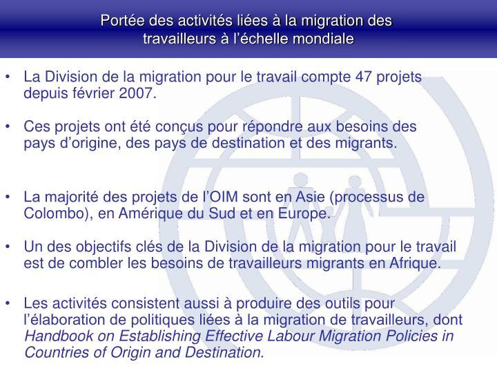 Portée des activités liées à la migration des