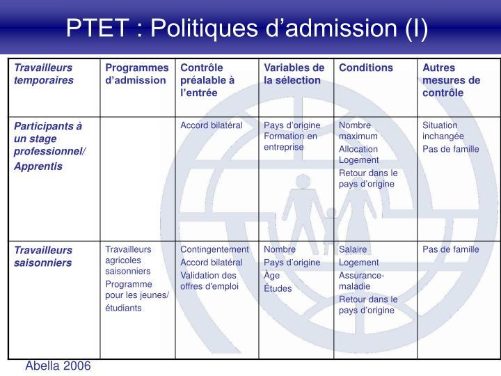 PTET : Politiques d'admission (I)