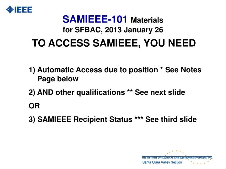 Samieee 101 materials for sfbac 2013 january 26