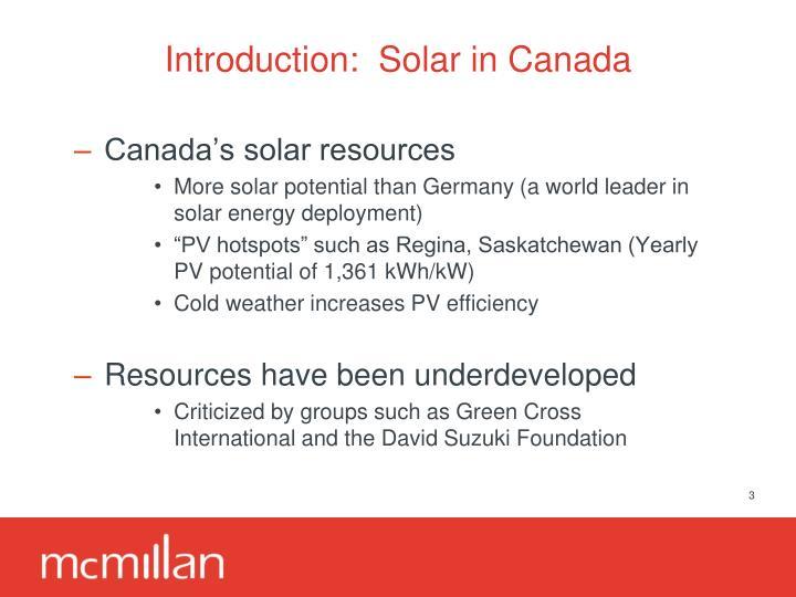 Introduction:  Solar in Canada
