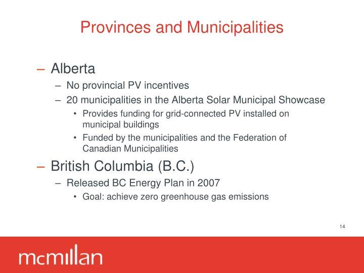 Provinces and Municipalities