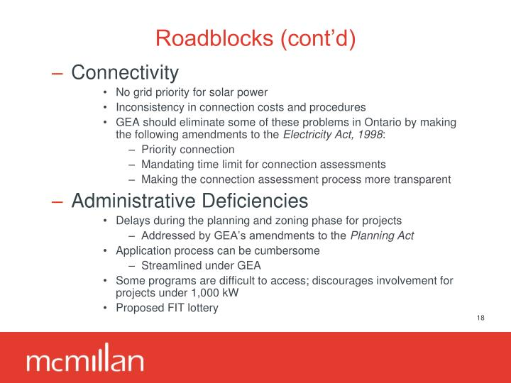 Roadblocks (cont'd)