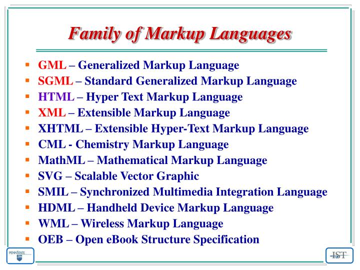 Family of Markup Languages