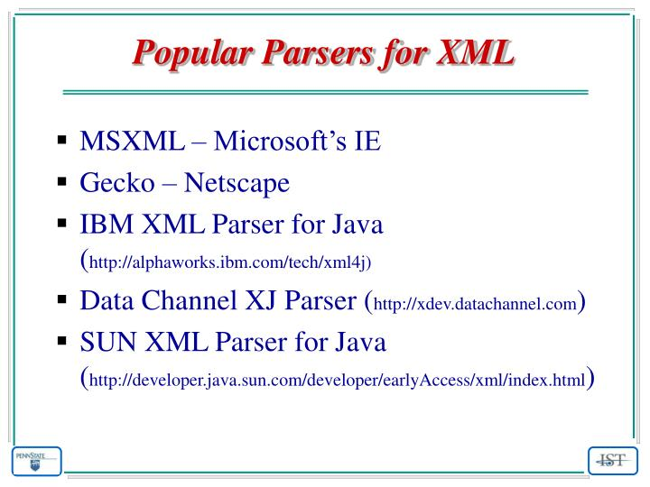 Popular Parsers for XML