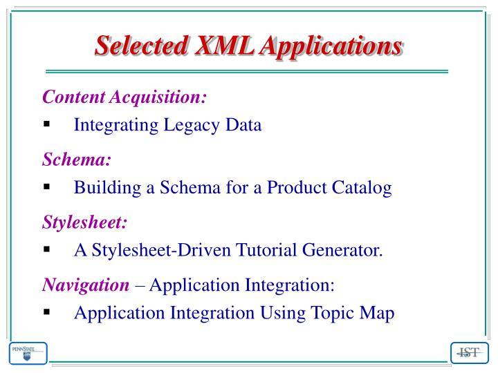 Selected XML Applications