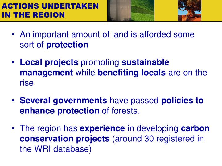 ACTIONS UNDERTAKEN IN THE REGION