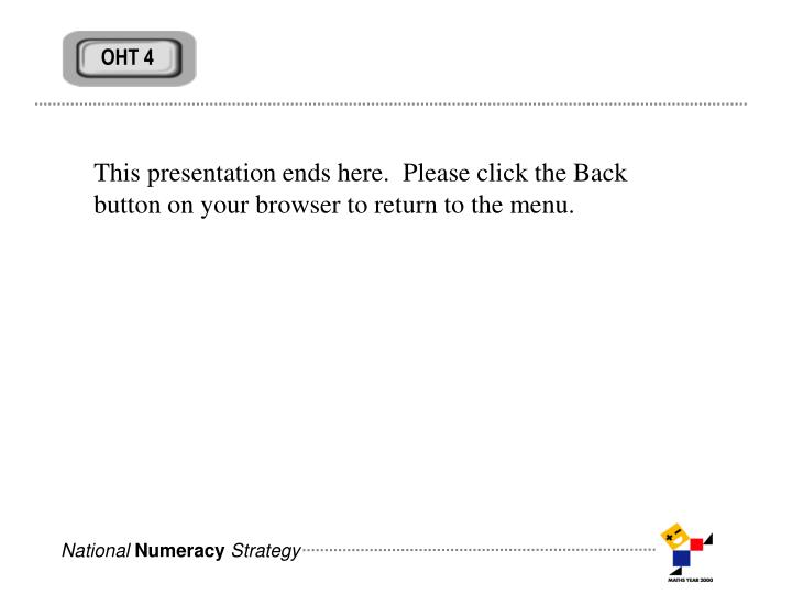 This presentation ends here.  Please click the Back button on your browser to return to the menu.