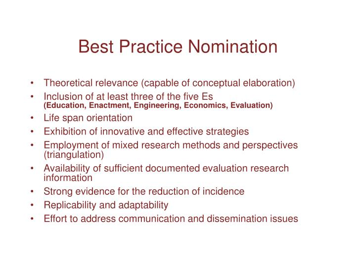 Best Practice Nomination