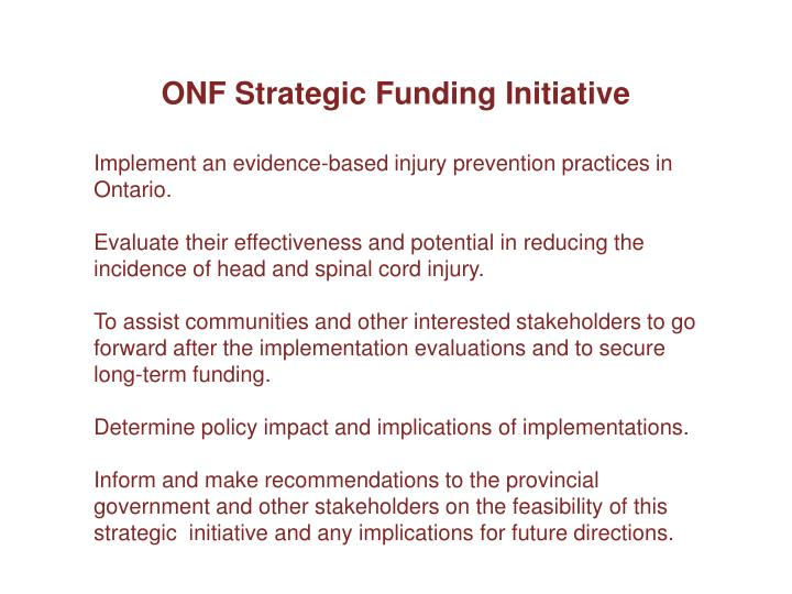 ONF Strategic Funding Initiative