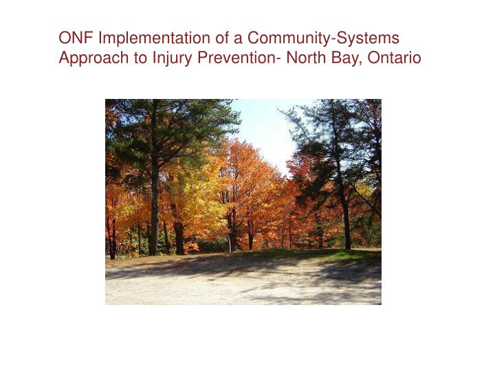 ONF Implementation of a Community-Systems Approach to Injury Prevention- North Bay, Ontario