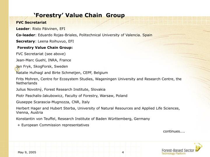 'Forestry' Value Chain  Group