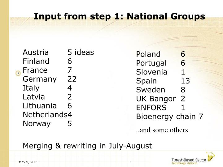 Input from step 1: National Groups