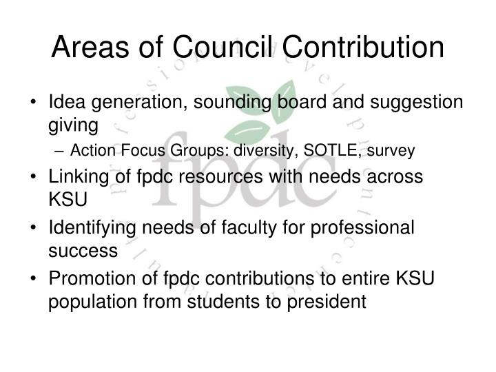 Areas of Council Contribution