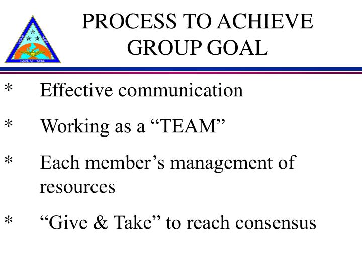 PROCESS TO ACHIEVE GROUP GOAL